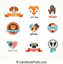 vetorial, ícones, -, gatos, animais estimação, cachorros, elementos