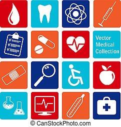 vetorial, ícones, médico, cobrança