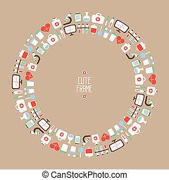 vetorial, ícones, médico, elements., quadro, saúde, coloridos, set., desenho, style., apartamento, ilustração