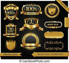 vetorial, 100%, guaranteed, etiqueta, satisfação, proteção,...