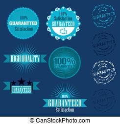 vetorial, 100%, jogo, garantia, etiqueta