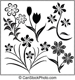 vetorial, 13, flores