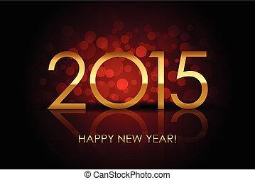 vetorial, 2015, -, feliz ano novo, vermelho, fundo borrado