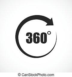 vetorial, 360 grau, ícone