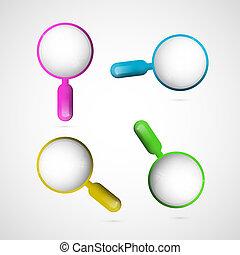 vetorial, 3d, azul, cor-de-rosa, amarelo verde, lupa, jogo