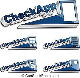 vetorial, 3d, cheque, app, ícone