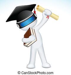 vetorial, 3d, homem, graduado