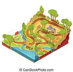 vetorial, 3d, isometric, ilustração, de, seção transversal, de, um, paisagem, parque, com, um, rio, pontes, bancos, e, lanterns.