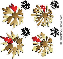 vetorial, 3d, snowflake
