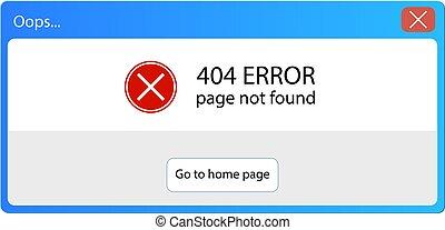 vetorial, 404, erro, po, cima, janela, mensagem, interface operador, elemento, retro, illustration.