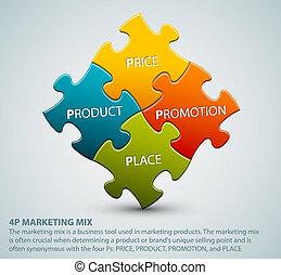 vetorial, 4p, marketing, mistura, modelo, ilustração
