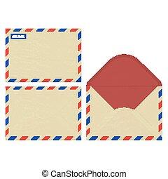 vetorial, abertos, jogo, arte, superfície, ar, papel, frente, correio, envelops, parte traseira