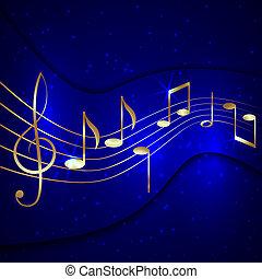 vetorial, abstratos, azul, musical, fundo, com, dourado,...