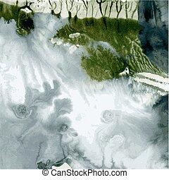 vetorial, abstratos, escuro, 2, molhados, monotype
