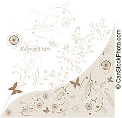 vetorial, abstratos, floral, fundo