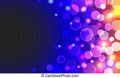 vetorial, abstratos, fundo, com, brilhante, obscurecido, azul, amarela, cor-de-rosa, colorido, luzes, em, horizontais, formato
