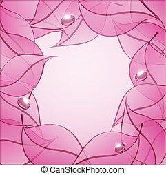 vetorial, abstratos, fundo, com, cor-de-rosa, folhas, e, gotas, de, orvalho