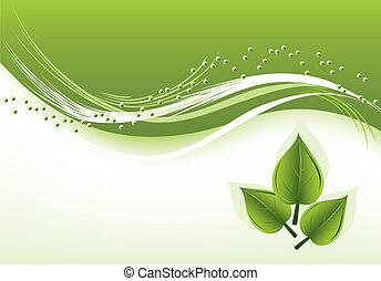vetorial, abstratos, fundo, com, verde sai