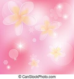 vetorial, abstratos, fundo cor-de-rosa, com, flores