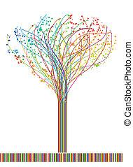 vetorial, abstratos, lines., árvore, coloridos