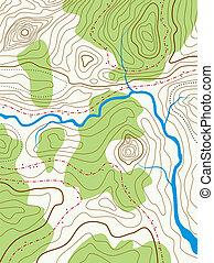 vetorial, abstratos, mapa topográfico, com, não, nomes