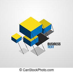 vetorial, abstratos, negócio, símbolo, cubos