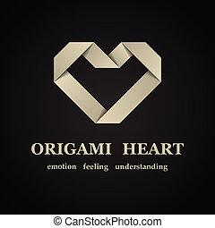vetorial, abstratos, origami, coração papel, símbolo