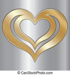 vetorial, abstratos, par, de, dourado, corações, ligado, prata, fundo
