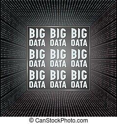 vetorial, abstratos, sala, com, código binário, e, a, palavras, grande, dados