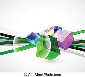 vetorial, abstratos, vidro, cubo, fundo