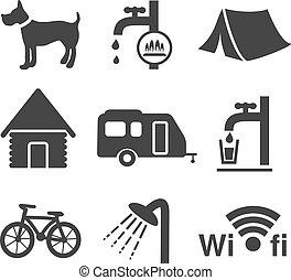 vetorial, acampamento, ícones, -, jogo, 1