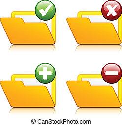 vetorial, adicionar, apagar, pasta, ícones