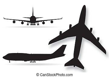 vetorial, aeronave, ilustração, isolado, silhuetas, fundo, avião, branca
