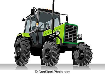 vetorial, agrícola, trator