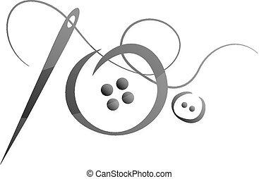 vetorial, agulha, fio