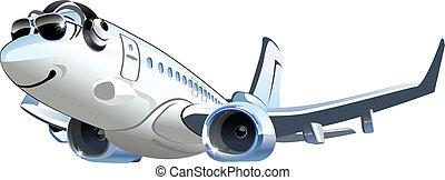 vetorial, airliner, caricatura