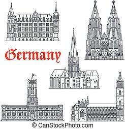 vetorial, alemanha, edifícios, ícones, arquitetura