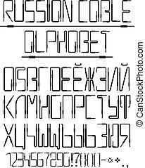 vetorial, alfabeto cyrillic, de, a, áudio, cabos