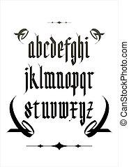 vetorial, alfabeto, fonte, gótico
