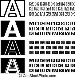 vetorial, alfabeto, fonte, quadrado, contorno