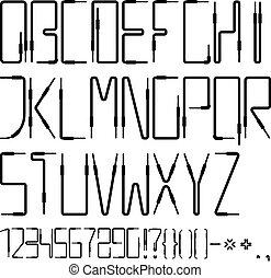 vetorial, alfabeto latino, de, a, áudio, cabos