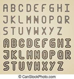 vetorial, alfabeto, listrado, fonte, original