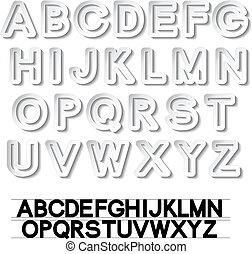 vetorial, alfabeto, -, papel, branca, fonte, adesivos