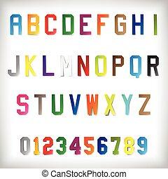 vetorial, alfabeto, papel, jogo