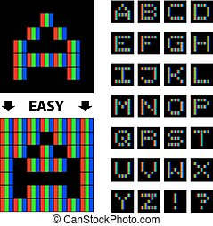 vetorial, alfabeto, rgb, fonte, pixel