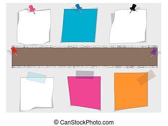 vetorial, alfinete, notas, papel, paperclip, empurrão