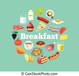 vetorial, alimento, apartamento, ilustração