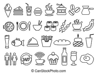 vetorial, alimento bebida, ícones, jogo