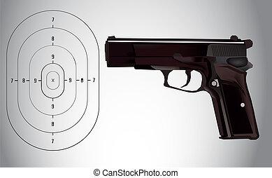vetorial, alvo, ilustração, arma
