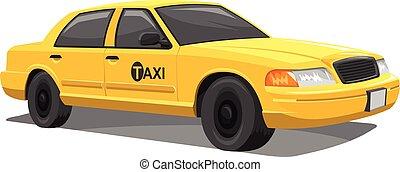vetorial, amarela, taxi.